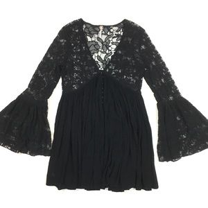 Free people lace bell sleeve v neck blouse